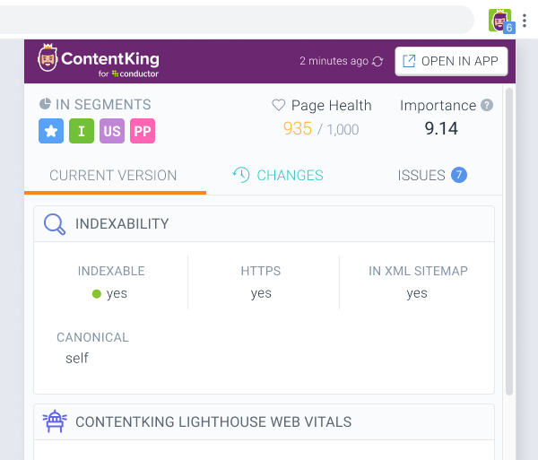 ContentKing Chrome extension showing SEO metrics about a page directly in user's browser