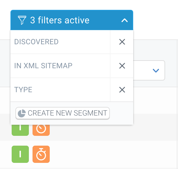 Screenshot of a blue bar showing the active filters in ContentKing