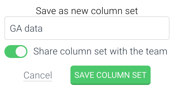 Screenshot of the second step of creating a column set in ContentKing
