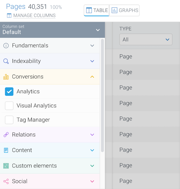 Screenshot of the Manage Columns section which allows you to add more columns to the Pages screen in ContentKing