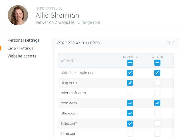 Screenshot showing the way of assigning alert recipients from the user perspective in ContentKing