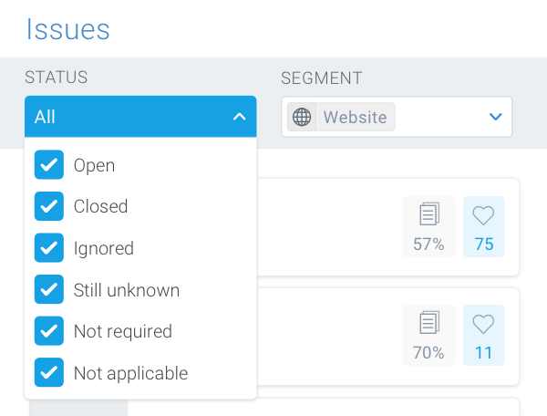 Screenshot of the Status filter in the Issues section which allows you to filter on the issues based on their status