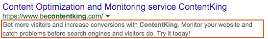 Meta description for the ContentKing homepage on Google