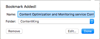 Screenshot of bookmarking the ContentKing homepage