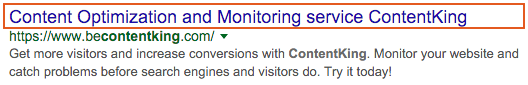 Example of ContentKing homepage title
