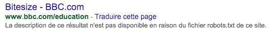 Description de Google n'est pas disponible en raison de robots.txt