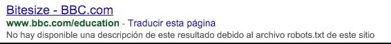 Descripción de Google no disponible debido a robots.txt