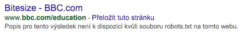 Popis v Googlu není dostupný kvůli souboru robots.txt