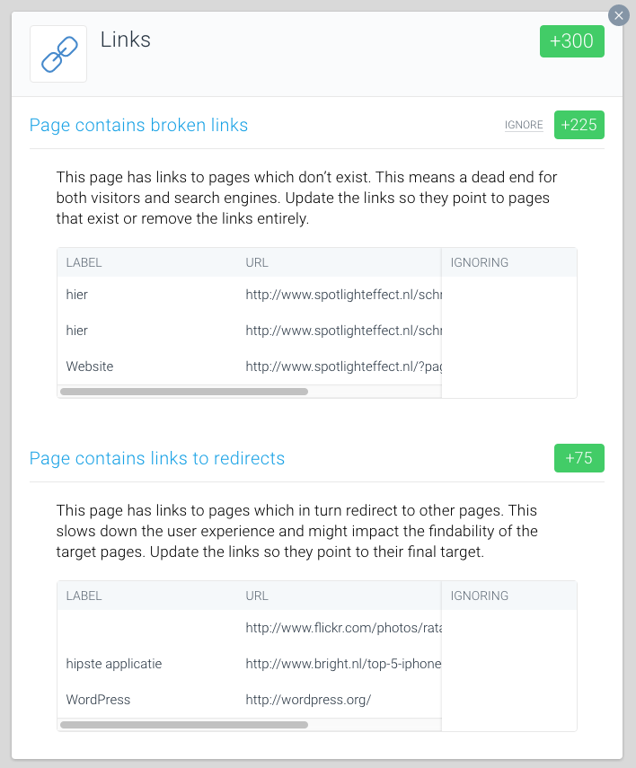 Enlaces rotos o los que redirigen a otras páginas en la aplicación ContentKing