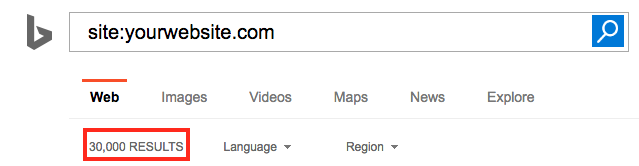 Amount of pages indexed in Bing