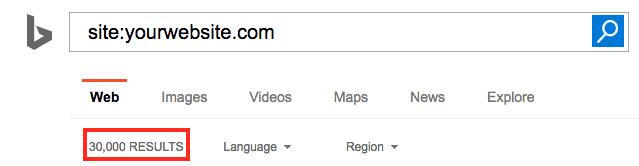 Número de páginas indexadas en Bing