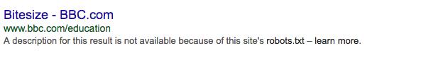 Google description not available robots.txt