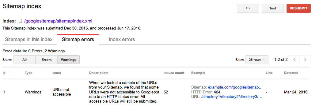 XML sitemap errors in Google Search Console