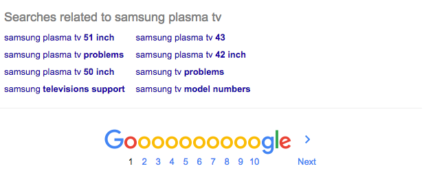 Google's related searches at the bottom of search results
