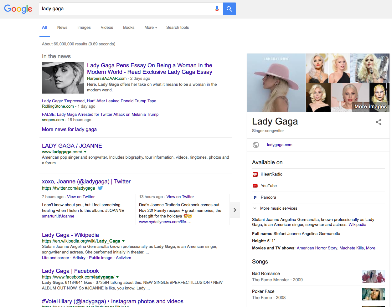 Google results for the keyword lady gaga