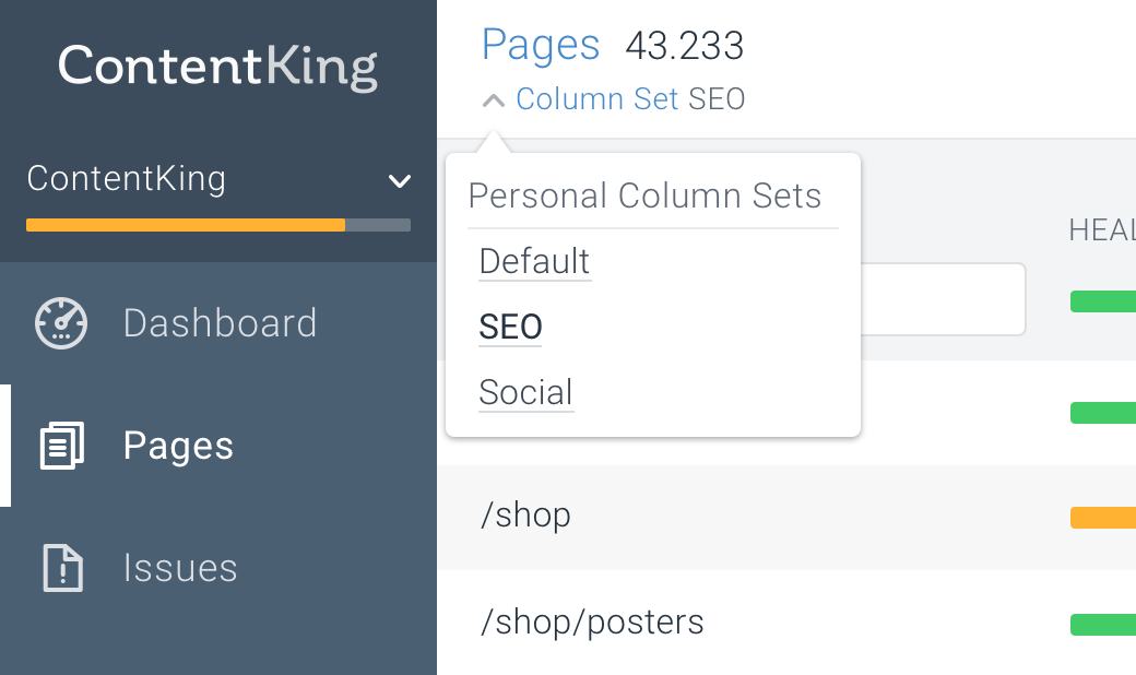 Column sets with ContentKing