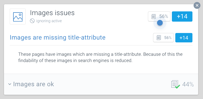 Some images have an img title attribute defined, others don't. It's not consistent, and from an image optimization point of view it's recommended to fill in ...