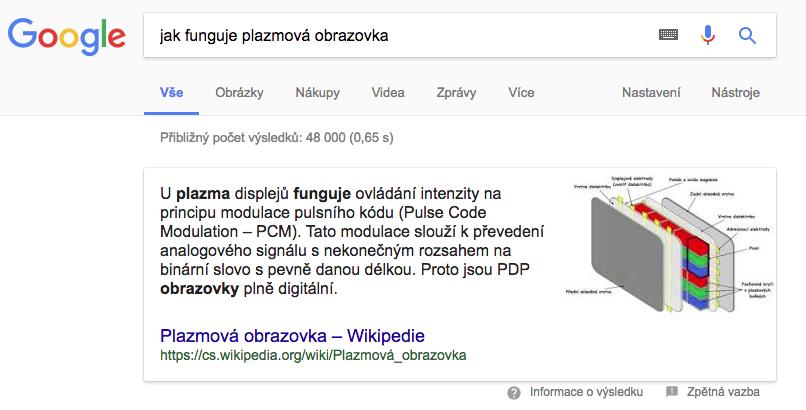 Vybraný úryvek v Googlu