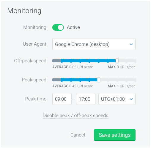ContentKing - Peak / peak off monitoring speed
