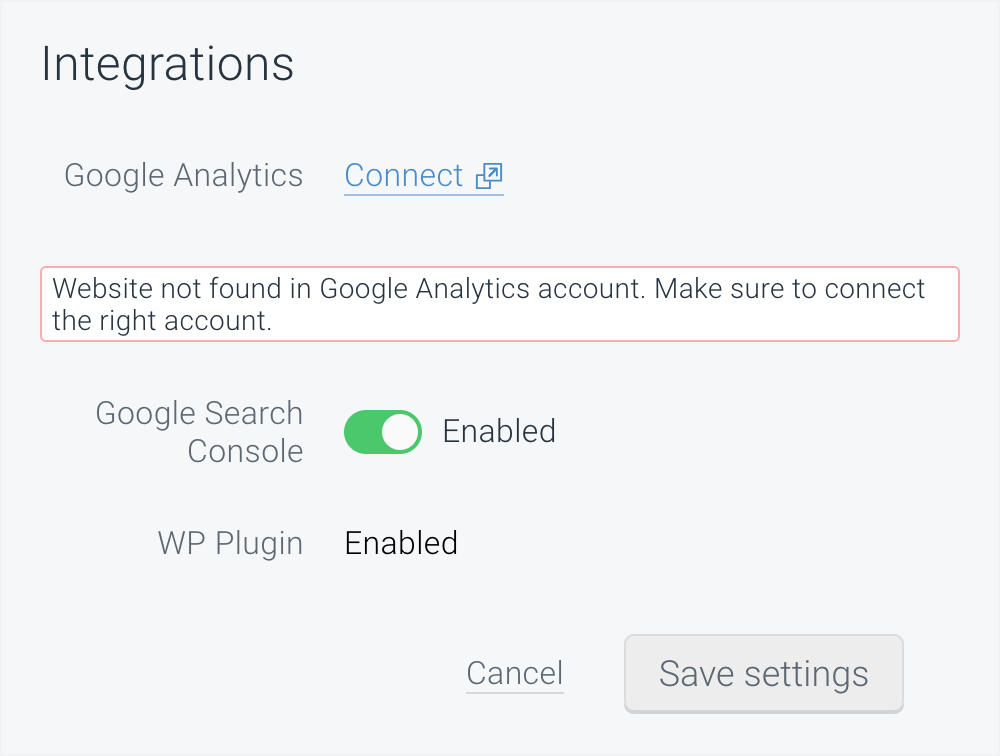 ContentKing Google Analytics integration error