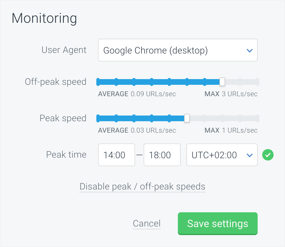 ContentKing monitoring with different peak and off-peak speeds