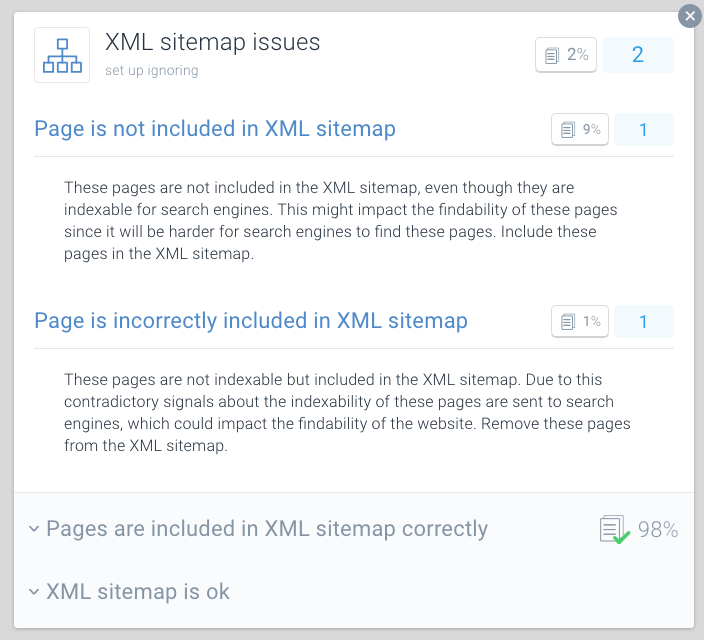 XML sitemap issue in ContentKing