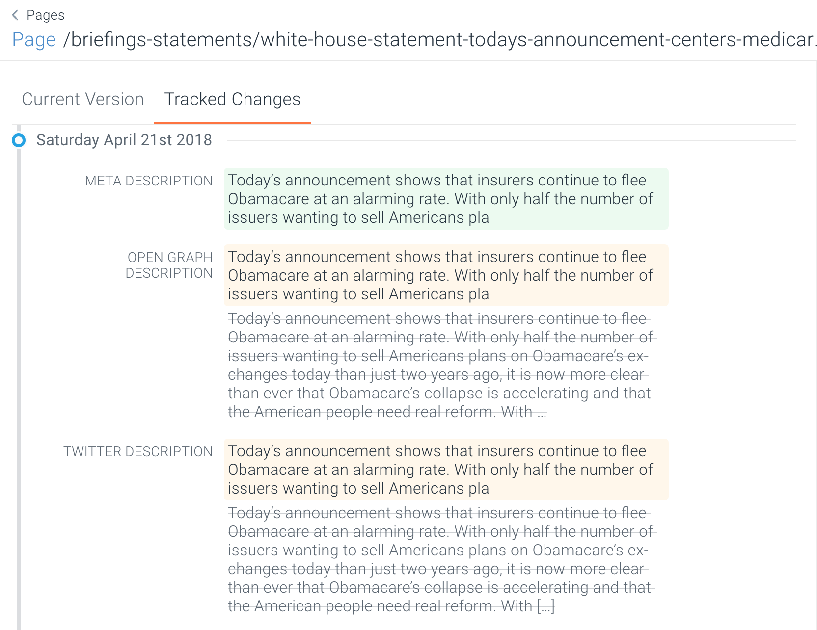 ContentKing descriptions changed for Whitehouse.gov