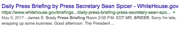 SERP snippet for daily press briefing query Whitehouse.gov