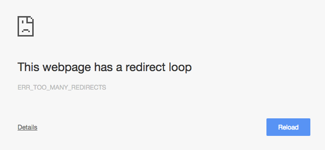 Redirect loop screenshot