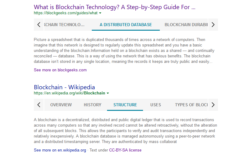 Featured snippet in Bing for blockchain query