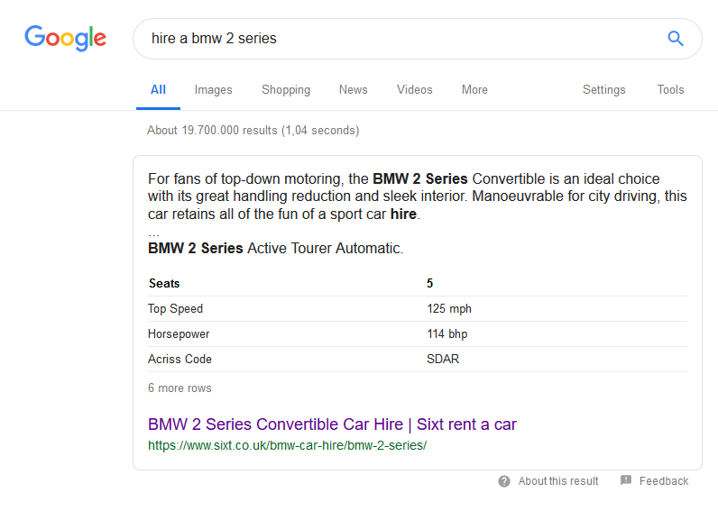 Featured snippet for query: hire a BMW 2 series