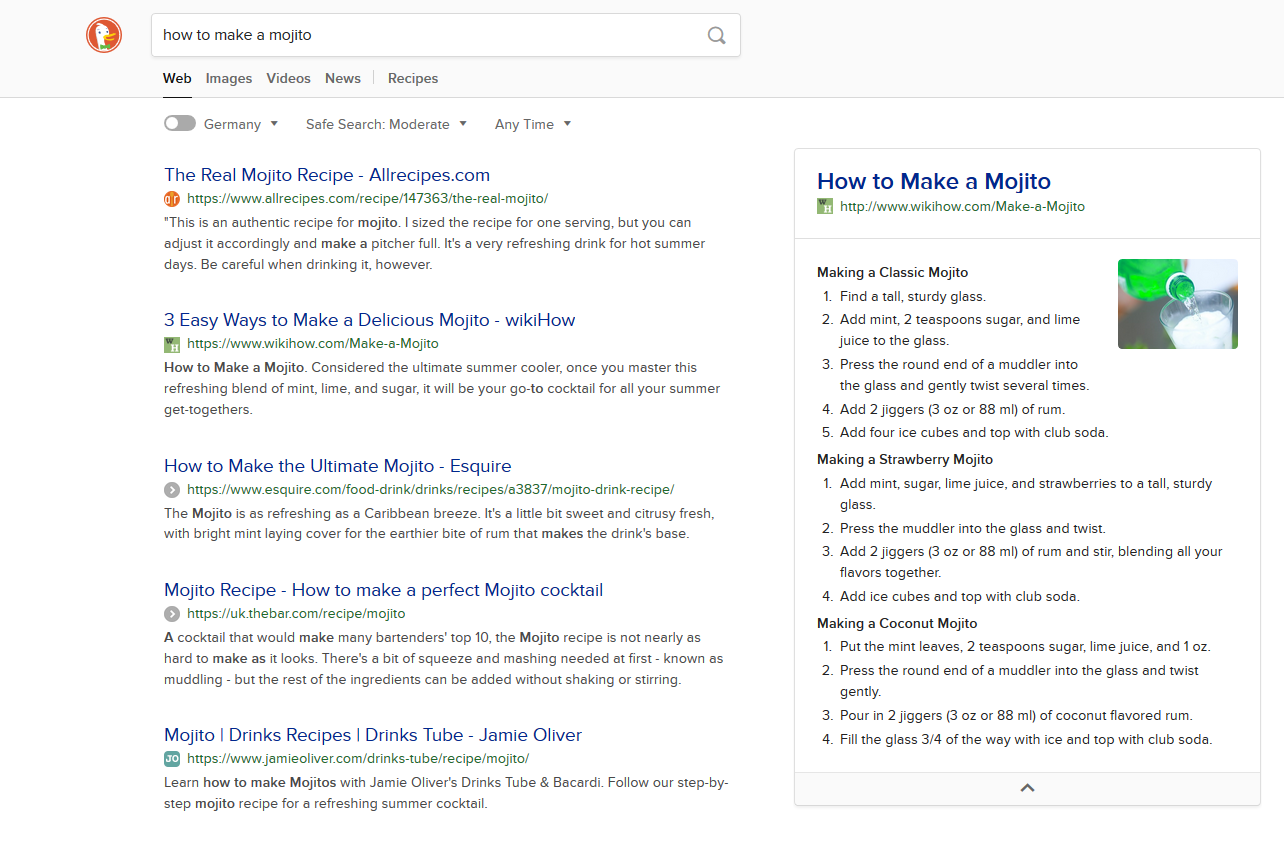 Featured snippet v DuckDuckGo pro dotaz: how to make a mojito