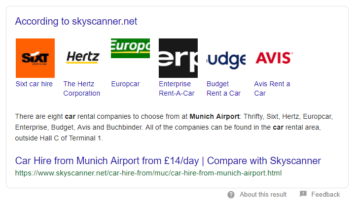 Entity Featured Snippet firmy Skyscanner