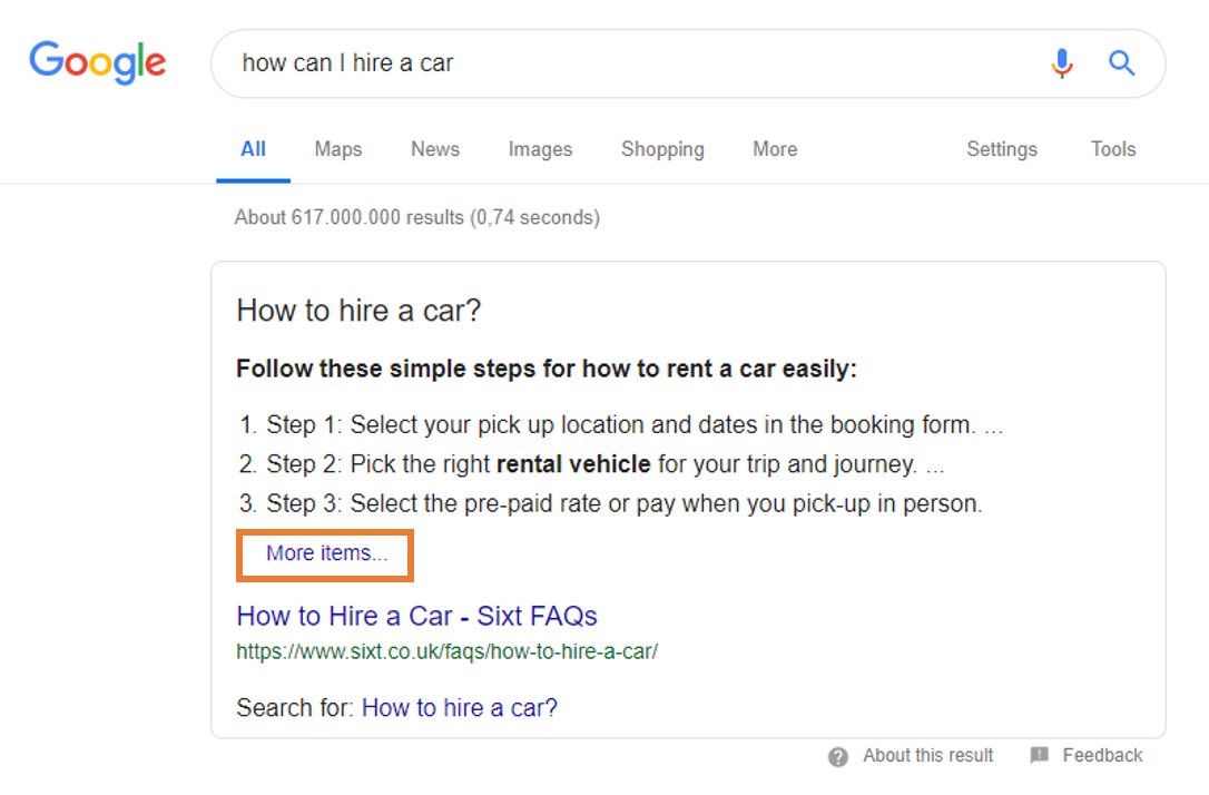 Featured snippet for query: how can i hire a car