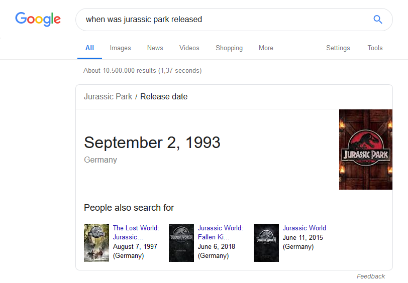 Featured snippet for query: wanneer kwam Jurassic Park uit