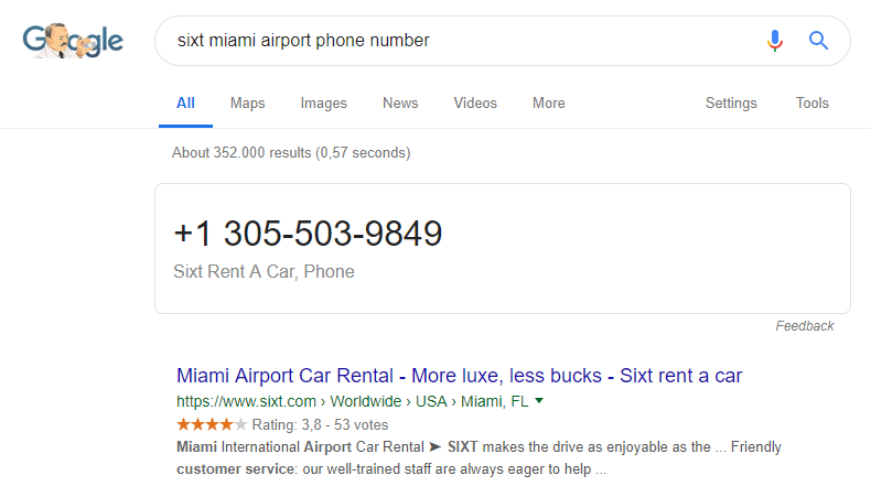 Featured snippet for query: sixt miami airport phone number