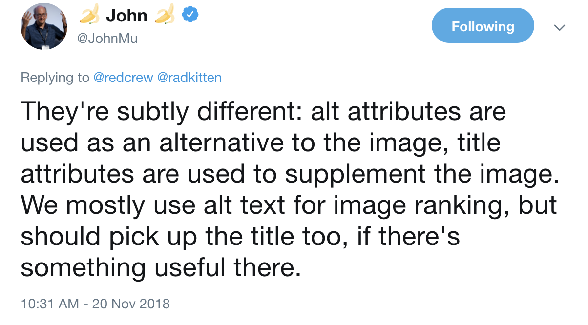 John Mueller says image title attribute still carries SEO value