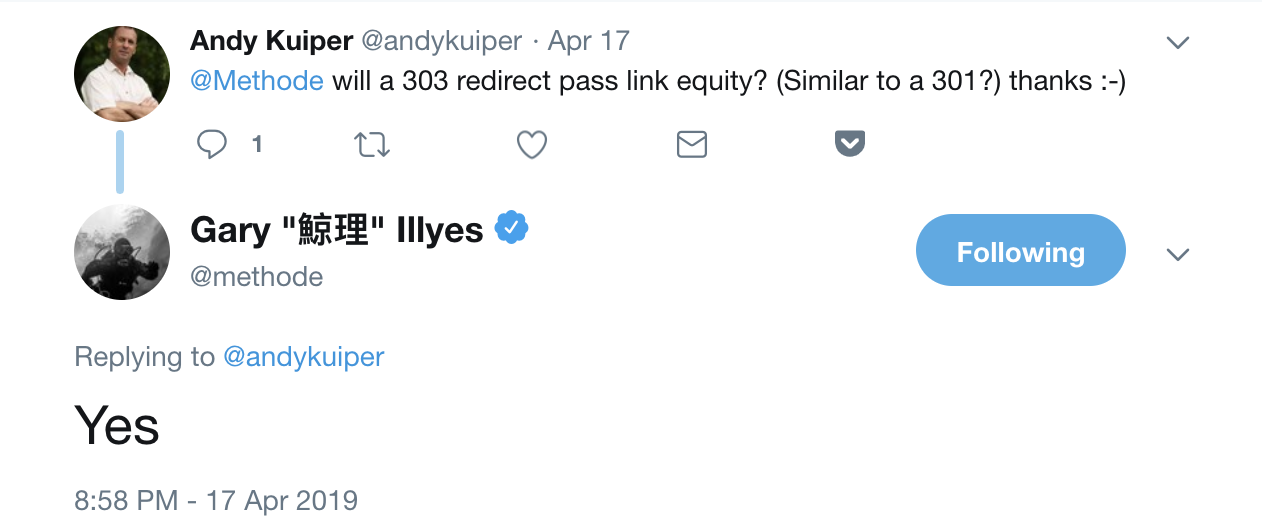 Screenshot of Twitter exchange between Gary Illyes and Andy Kuiper whether 303 redirects pass link equity.
