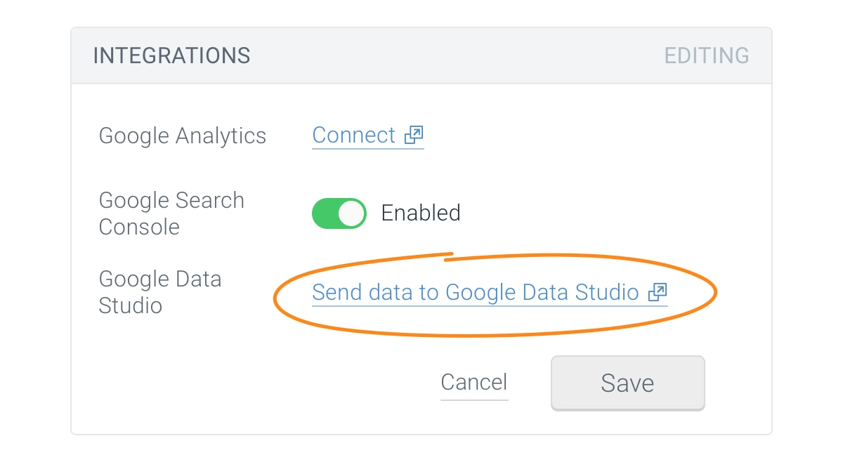Setting up the Google Data Studio integration -- Step 1