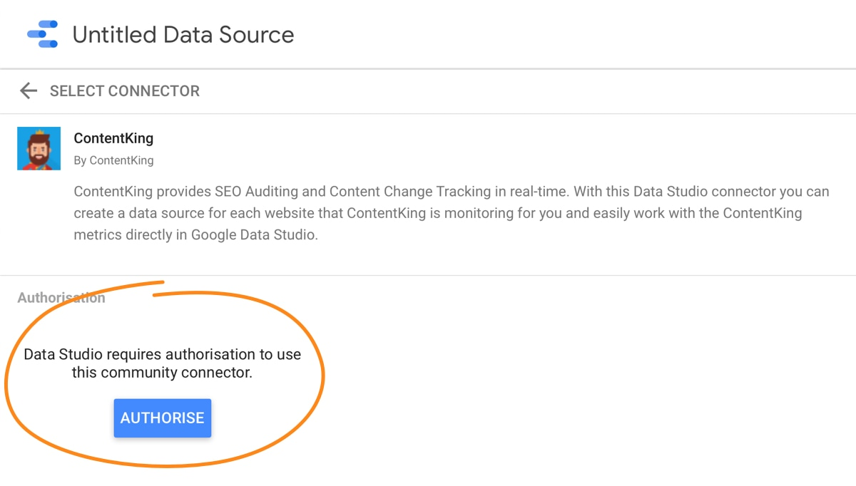 Setting up the Google Data Studio integration -- Step 2