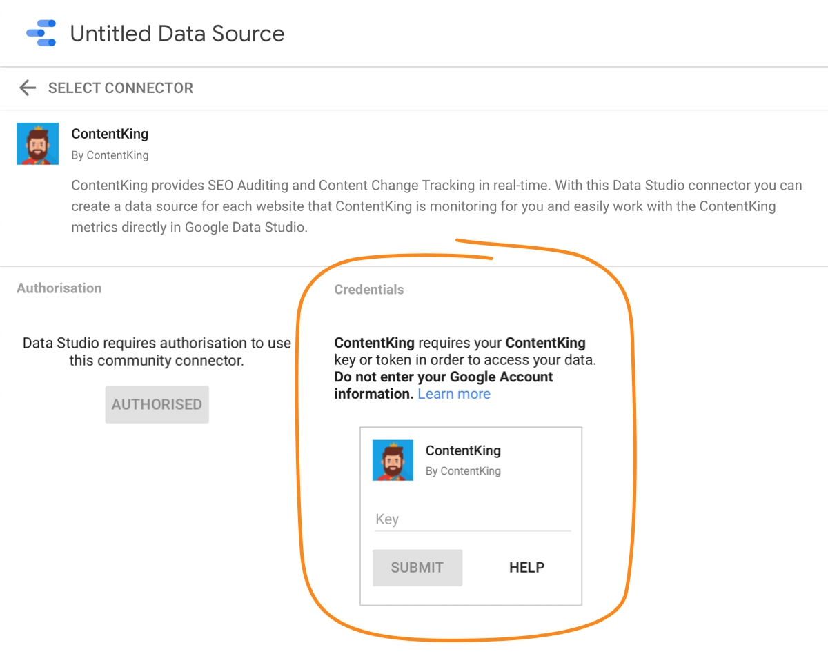 Setting up the Google Data Studio integration -- Step 3