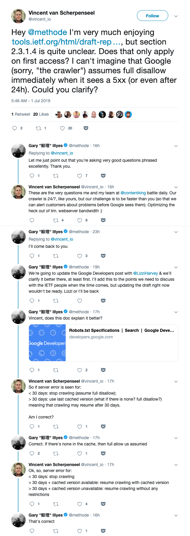 Twitter exchange between Vincent van Scherpenseel and Gary Illyes