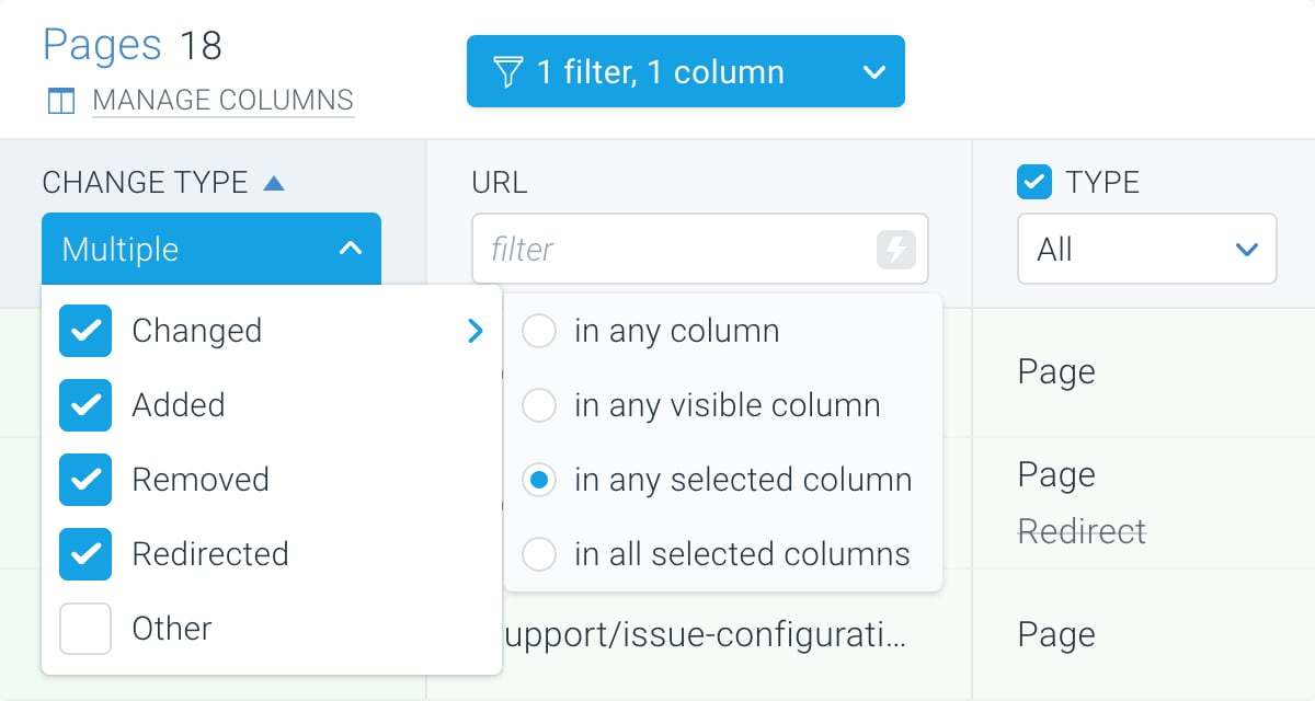 Filtering on changes in specific columns in ContentKing
